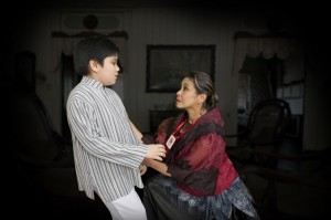 A scene from the play with Isabel Delgado as Doña Teodora and Gerard Jalondo-on Louis as the young Rizal.