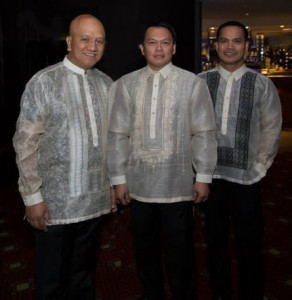 Rod Dingle, Ross Iglesia and Dennis Laxamana dressed to the nines, in their fine Barongs.